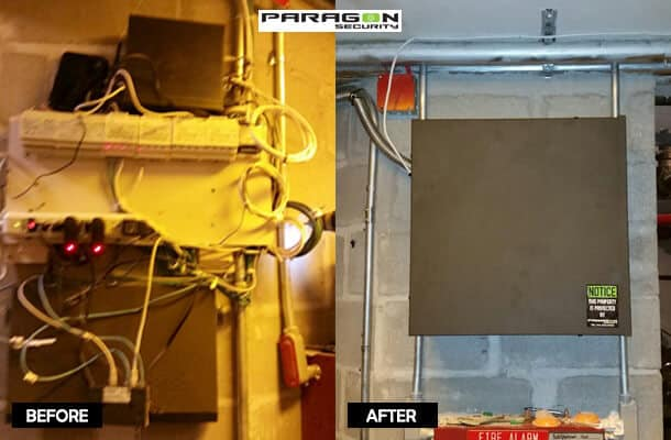 Before and after of a small  commercial wiring panel