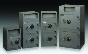 4 sizes of Gardall safes with drop slots