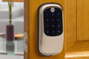 Key Free Touchstone Locking System installed on wood door