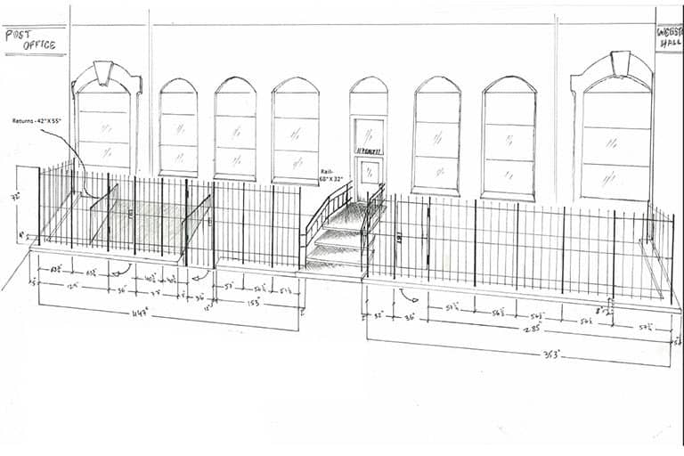 Sketch of iron fencing