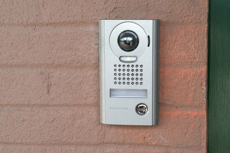 Aiphone audio/video Intercom system on a warehouse wall
