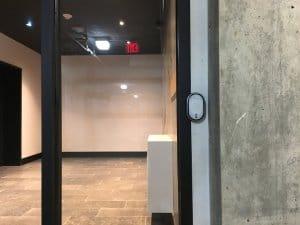 Door with smart lock installed