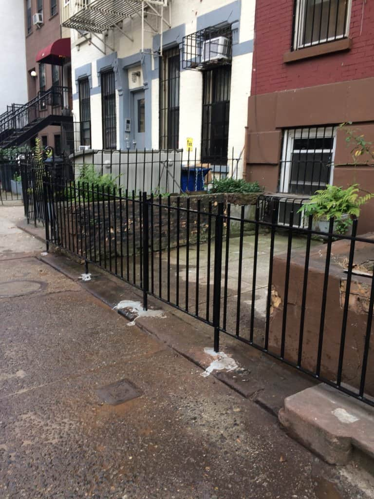 Street view of iron fence