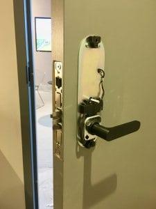 Deconstructed Installed Latch M on door