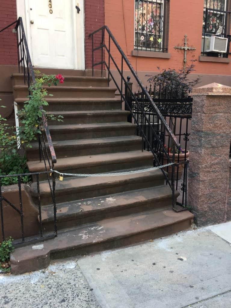 View of iron stairway railings