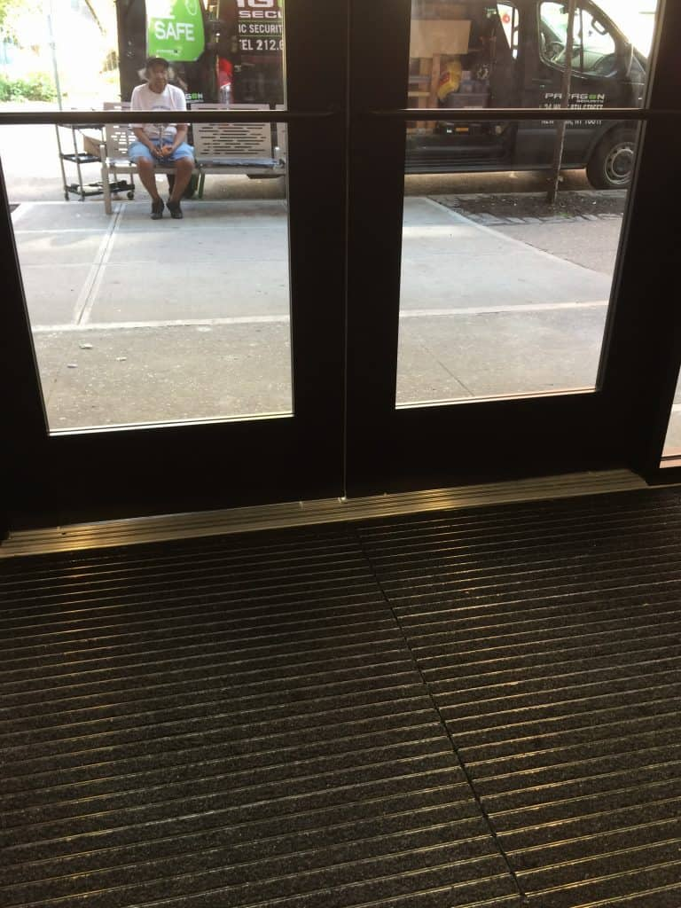 View from the inside out of Aluminum frame heavy gauge doors
