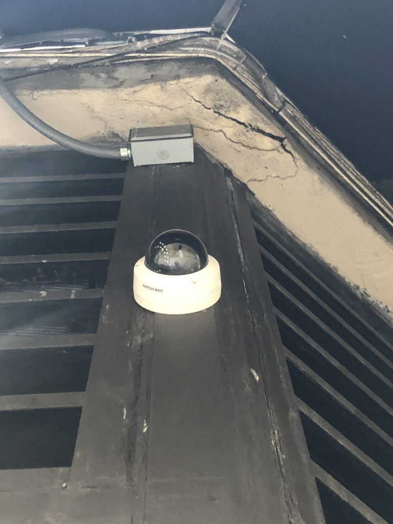 Security Camera installed on an exterior corner