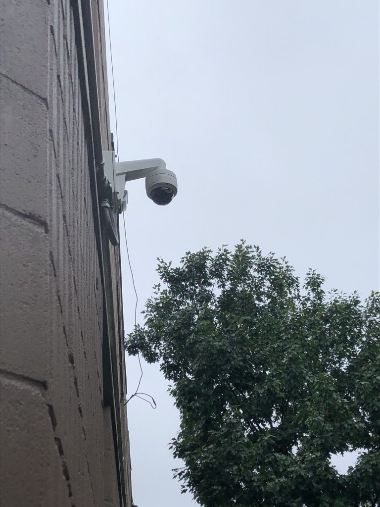 Security Camera installed seen from the side and below