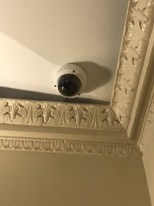 Network dome camera installed in the ceiling and seen from below