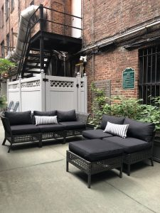 Outdoor patio with seating area