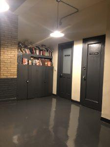 Interior office door and hallway